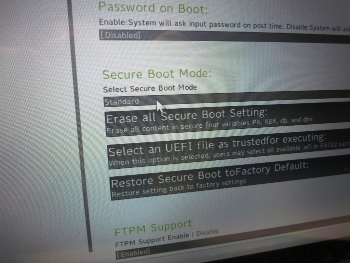 Acer Secure Boot Menu
