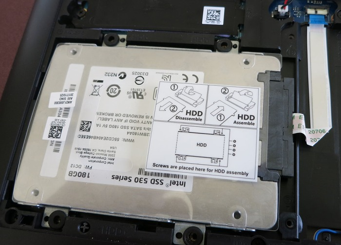 Dell 7577 2.5 inch drive installed