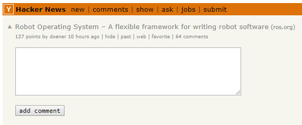 ROS on Hacker News