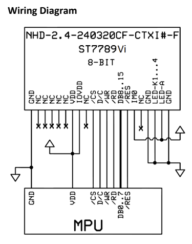 NHD-2.4-240320CF-CTXI LCD module wiring diagram