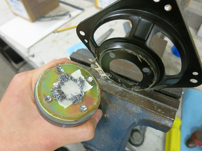 Speaker magnet pried loose