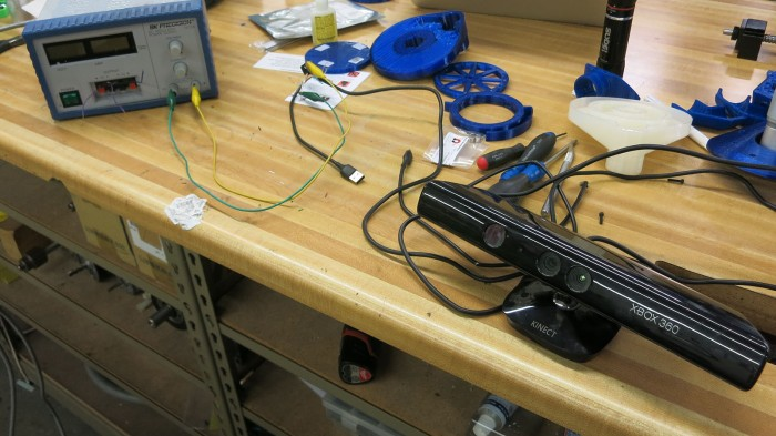 xbox 360 kinect on workbench