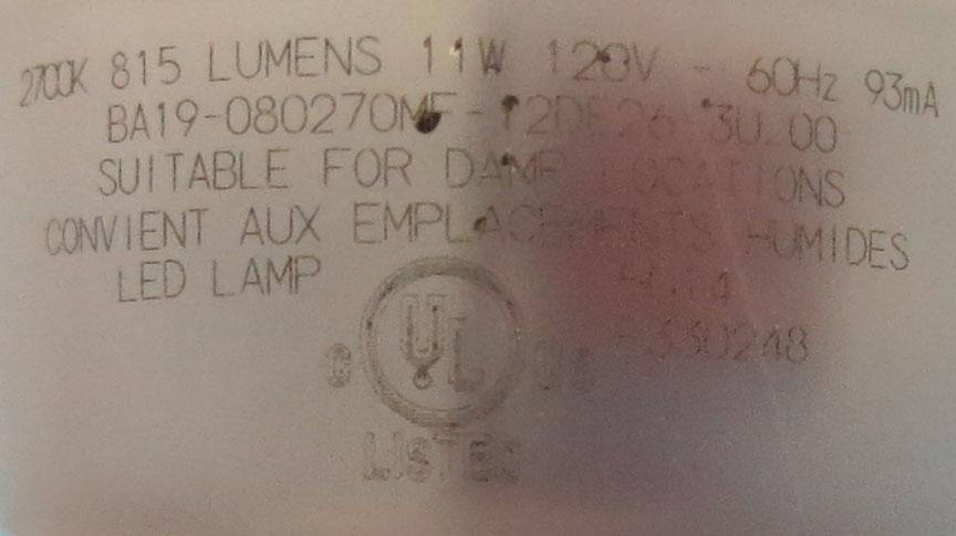 Cree LED bulb teardown 6 - label