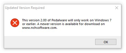Pedalware needs Windows 7 or earlier