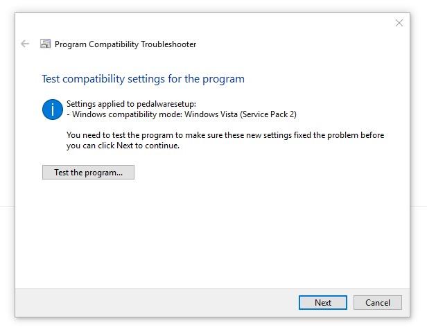 Pedalware needs Windows Vista compatibility mode