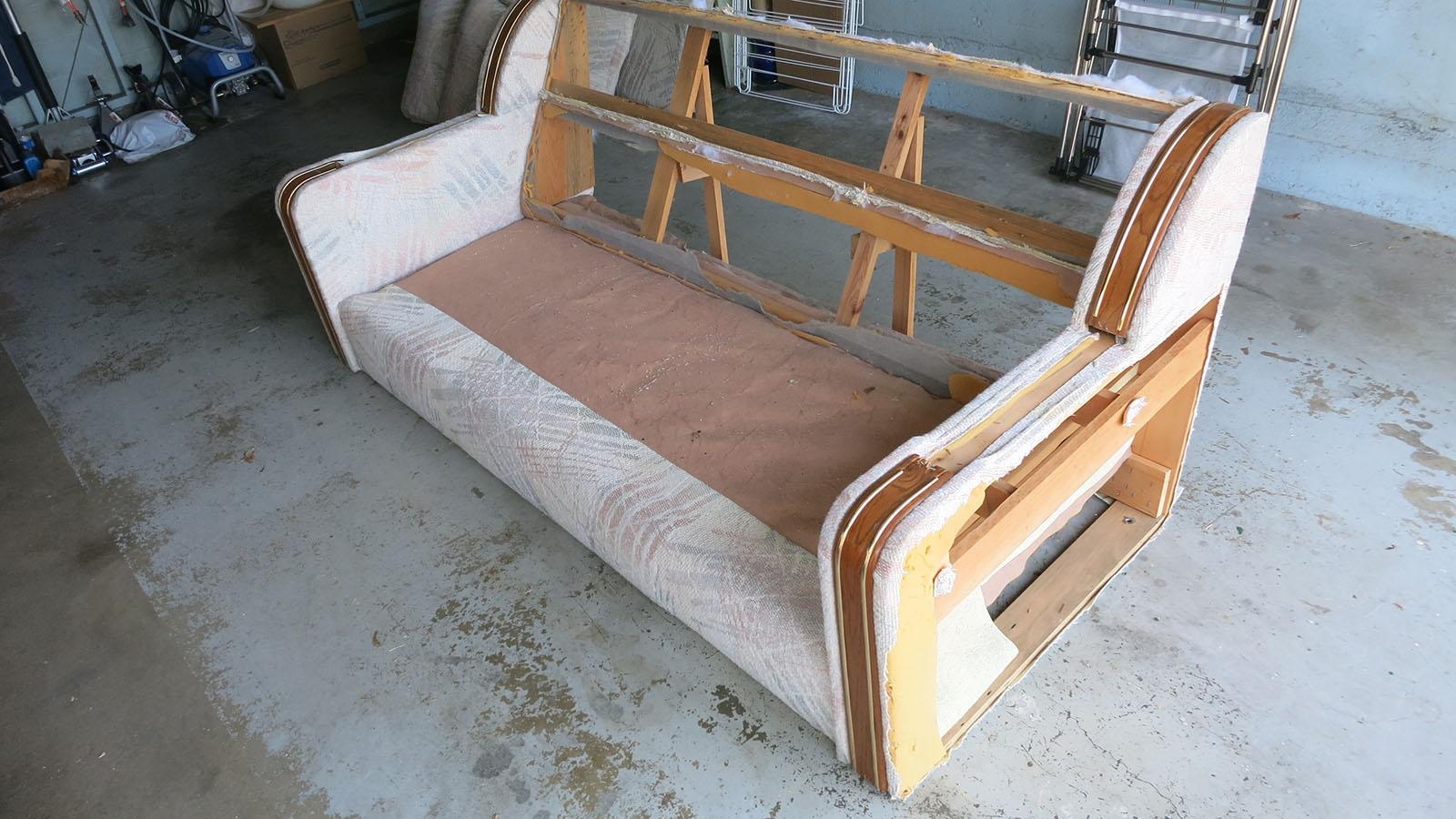 Couch Teardown 12 - side panels cut off