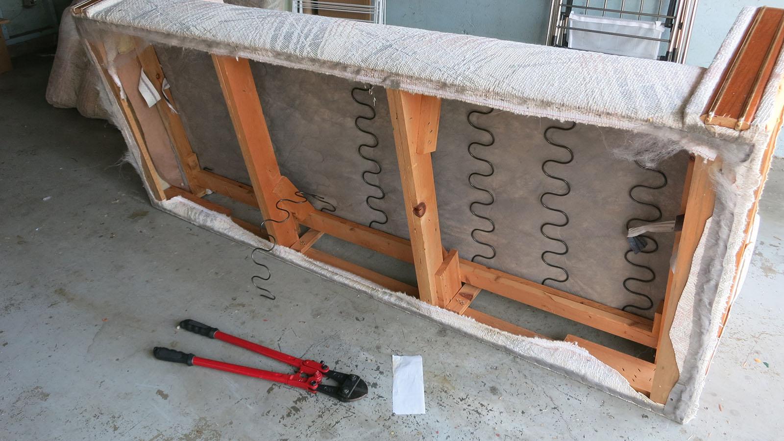 Couch Teardown 13 - cutting springs