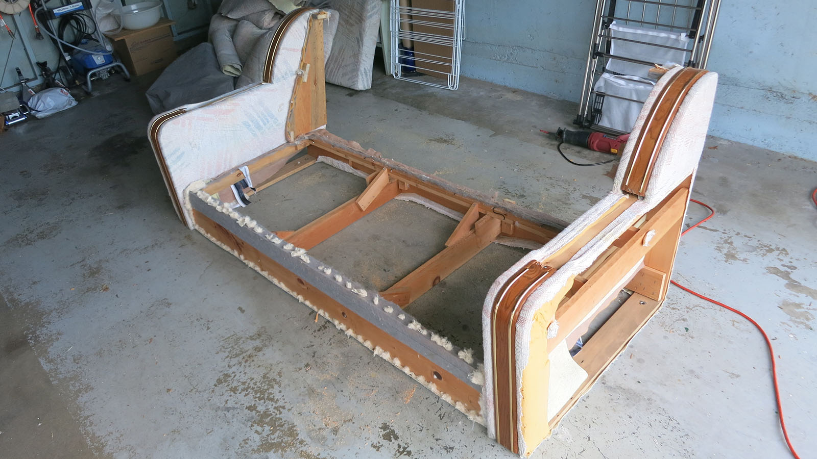 Couch Teardown 15 - seat back wood cut off