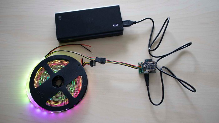 SK9822 5m60 LED strip with PixelblazeV3 on USB power bank
