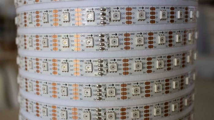 LED strip helix soldered joints