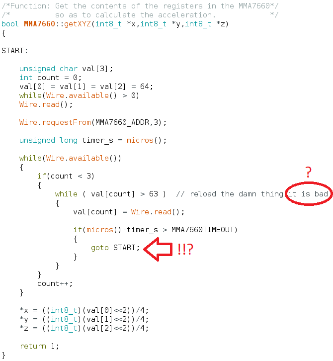 MMA7660 demo code says it is bad and uses goto