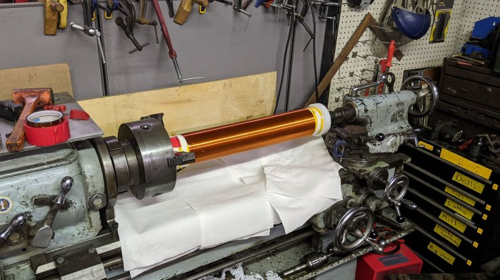 Sparklecon 2020 9 tesla coil winding on lathe