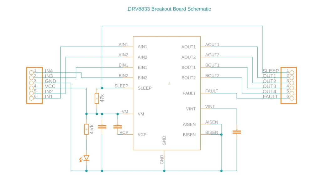 Schematic diagram for a popular type of DRV8833 breakout board.